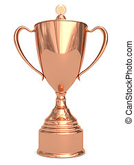 Bronze trophy cup on white