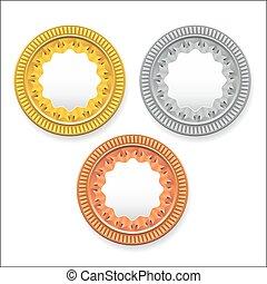 bronze., usato, oro, essere, monete, esso, rotondo, bottoni, vettore, vuoto, icone, argento, medaglie, lattina