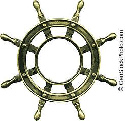 bronze, vecteur, roue