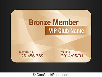Bronze VIP Club Card - VIP member card in bronze color with...