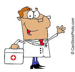 bronzeado, caricatura, doutor, homem, carregar, seu
