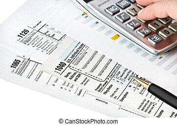 bronzeado, formulários, com, caneta, calculator.