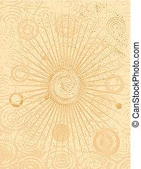 bronzeado, fundo, com, círculos