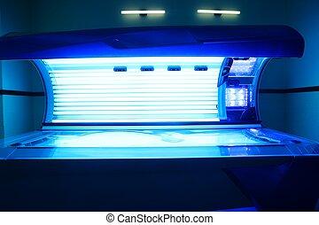 bronzeando, solarium, luz, máquina, azul, cor