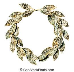 Bronzed laurel wreath. - Bronzed laurel wreath on a white ...