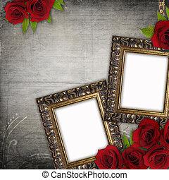 Bronzed vintage frames on old grunge background (1 of set...