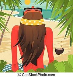 bronzer, girl, plage