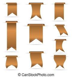 bronzovat, barva, oběšení, oblý, lem, standarta, dát, eps10