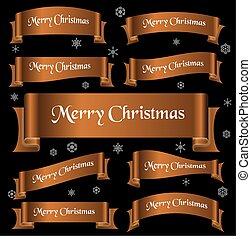 bronzovat, lesklý, barva, merry christmas, heslo, oblý, lem, standarta, eps10