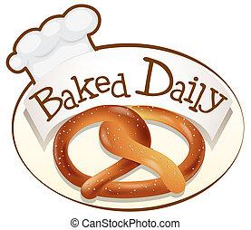 brood, bakt, verdraaid, alledaags, etiket