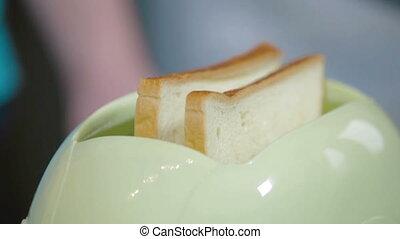 brood, in, de, toaster, laid, muziek, keuken