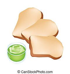 brood, knippen, kop, cocosnoot, room, brood