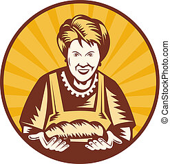 brood, vrouw, oud, binnen, set, het voorstellen, vers, bakt...