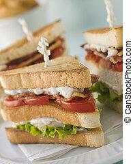 broodje, club, bakken, decker, drievoudig, geroosterde