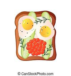 broodje, eitjes, kaviaar, twee, gebraden, rood, brood
