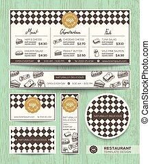 broodje, restaurant menu, ontwerp, mal, koffiehuis