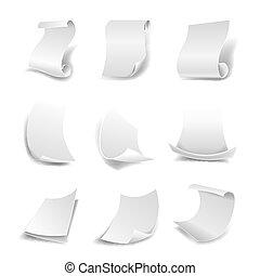 broodjes, iconen, vrijstaand, kanten, papier, vector, bladen, leeg, gebogen, witte , of
