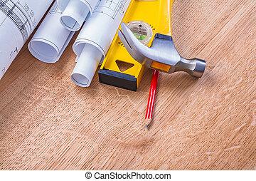 broodjes, van, blauwdruken, niveau, hamer, potlood, bouwsector, concept
