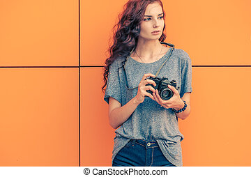 Broody Hipster Girl Photographer Looking Away With Vintage...