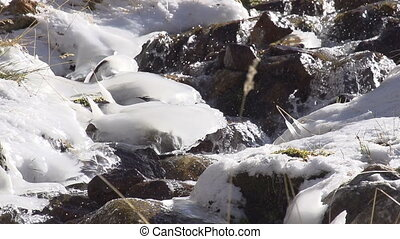Brook Among Ice Build-up - The water in the mountain stream...