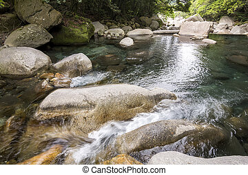 Brook spread out flowing through among a rocks