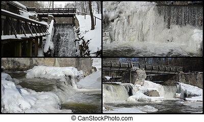 brook waterfall cascade retro bridge frozen ice icicles winter