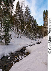 brook with cascades in winter forest. lovely winter nature...