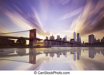 brooklyn γέφυρα , ηλιοβασίλεμα