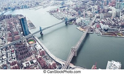 Brooklyn and Manhattan Bridge, view from helicopter, New York City Slow motion