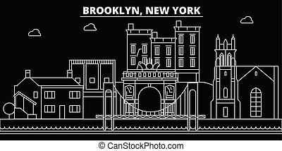 brooklyn, appartamento, silhouette, città, stati uniti, illustrazione, architettura, lineare, -, landmarks., americano, vettore, skyline., icona, edifici., linea, bandiera, viaggiare, contorno