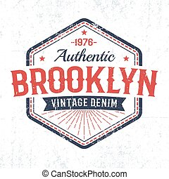 Brooklyn authentic vintage emblem in American classic style