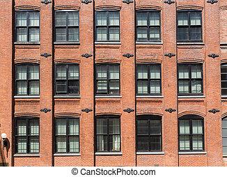 brooklyn, brickwall, facades, in, new york