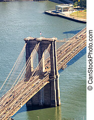 Brooklyn Bridge, aerial view of city skyline