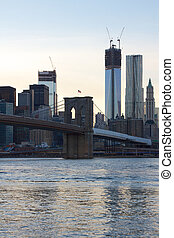 Brooklyn Bridge and Freedom Tower under Construction