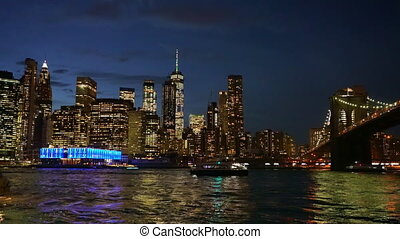 Brooklyn bridge and Manhattan at night