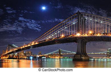 New York City Manhattan - Brooklyn Bridge and Manhattan...