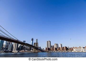 Brooklyn Bridge and Manhattan Skyline - The Brooklyn Bridge...
