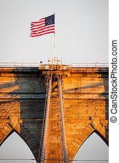 Brooklyn bridge at sunset in NYC