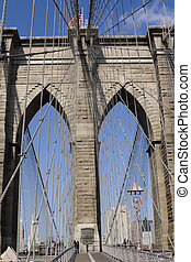 Brooklyn bridge between manhattan and brooklyn