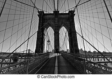 Brooklyn Bridge, Black and White - Black and white of the ...