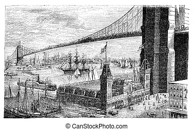 Brooklyn Bridge - Brooklyn bridge in New York. Illustration...