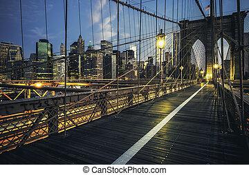 Brooklyn Bridge by night, New York, USA.