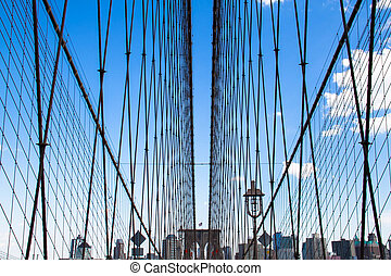 Brooklyn bridge cable-stayed and buildings with blue sky, New York