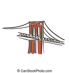 Brooklyn bridge flat color illustration. United States New...