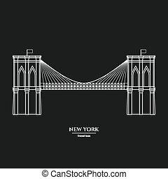 Brooklyn Bridge Icon 1 - Vector Illustration of Outline...