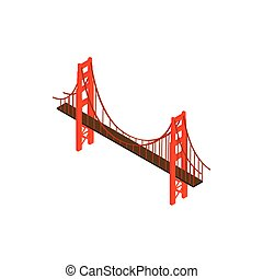 Brooklyn bridge icon, isometric 3d style - Brooklyn bridge...