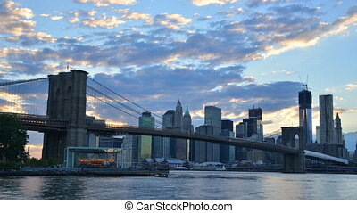 Time lapse of the Brooklyn Bridge spanning the East River in New York City.