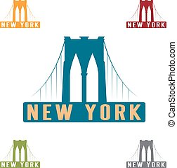 Brooklyn Bridge in New York city vector design template