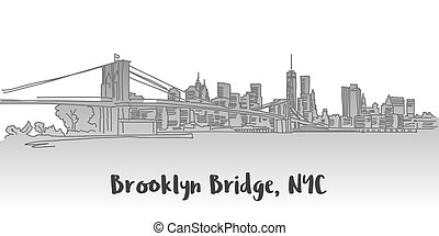 Brooklyn Bridge Manhattan Skyline Landmark, Hand-drawn...