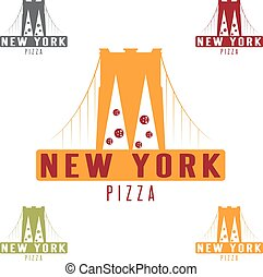 Brooklyn Bridge New York pizza concept vector design...